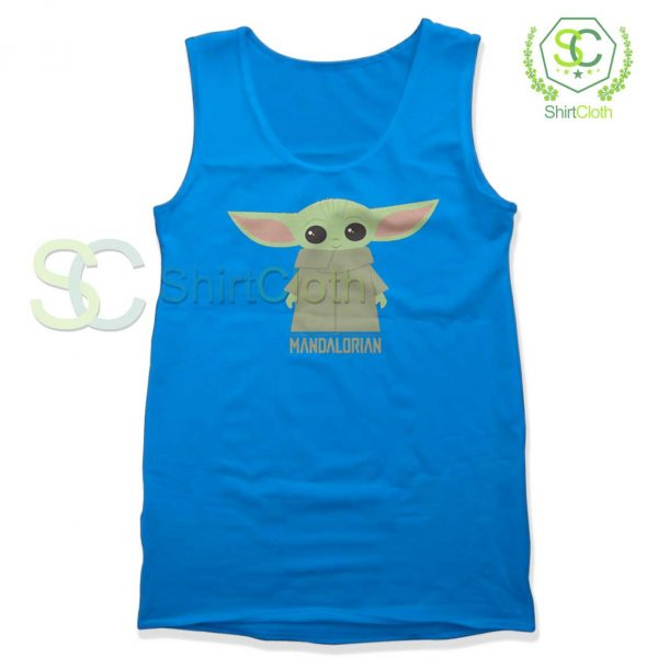 Baby-Yoda-The-Mandalorian-Blue-Tank-Top