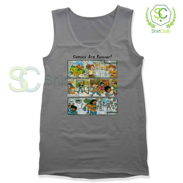 Comic-Are-Forever-Grey-Tank-Top