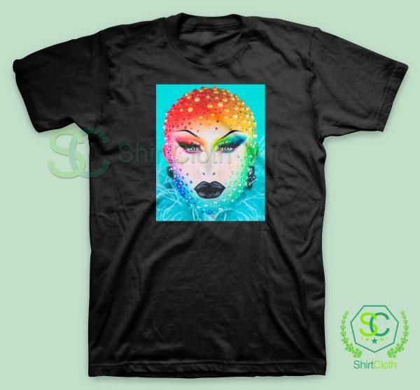 Beauty-Blu-Hydrangea-Black-T-Shirt