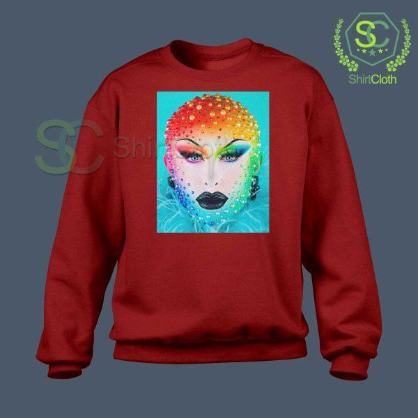 Beauty-Blu-Hydrangea-Red-Sweatshirt