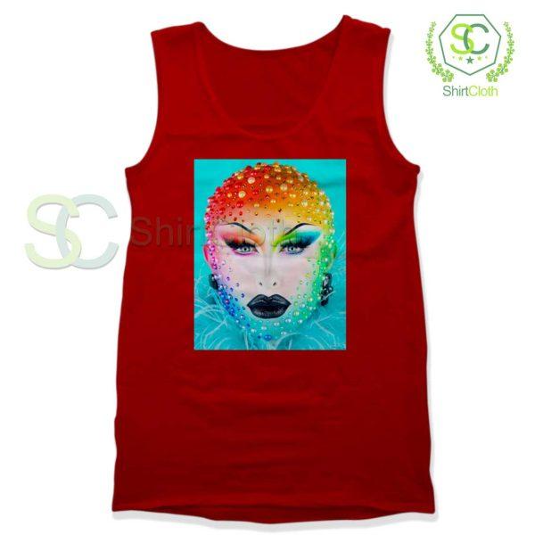 Beauty-Blu-Hydrangea-Red-Tank-Top