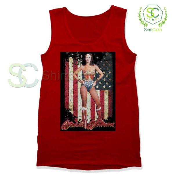 Lynda Carter Wonder Women Red Tank Top