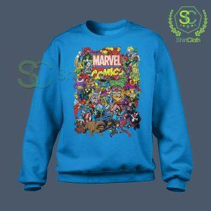 Marvel Comics Heroes Group Blue Sweatshirt