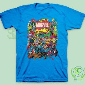 Marvel Comics Heroes Group Blue T Shirt