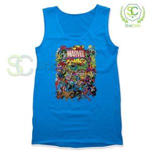 Marvel Comics Heroes Group Blue Tank Top