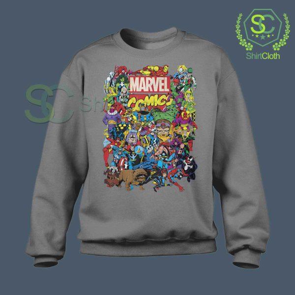 Marvel Comics Heroes Group Gray Sweatshirt