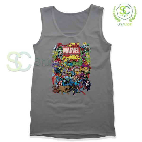 Marvel Comics Heroes Group Gray Tank Top